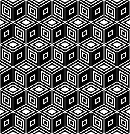 オップ ・ アート デザイン。シームレスな幾何学的な菱形パターン。イラスト。  イラスト・ベクター素材