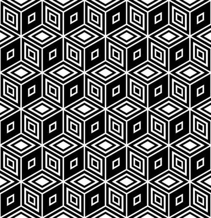 optical illusion: Op art design. Seamless geometric rhombuses pattern. illustration. Illustration