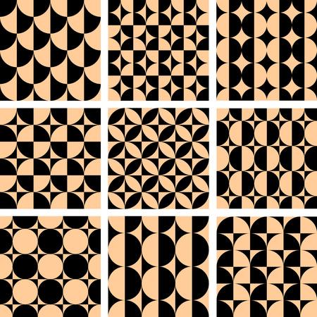 Seamless geometric patterns set in op art design. illustration.