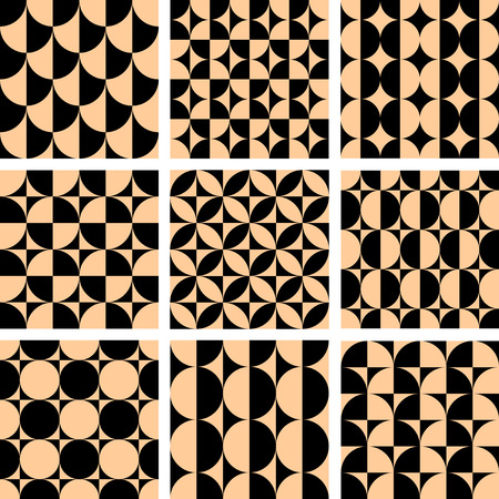 geometrical shapes: Seamless geometric patterns set in op art design. illustration. Illustration
