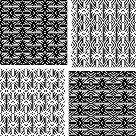 Seamless geometric patterns set. Vector illustration. Vector