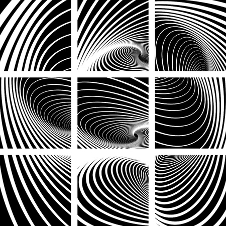 whirlpools: Whirl movement. Abstract backdrops set. Vector art.