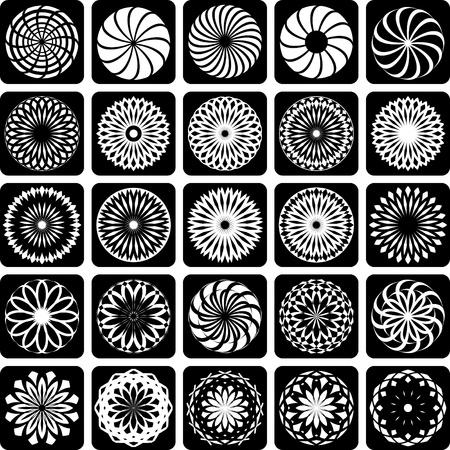 circular silhouette: Decorative design elements. Patterns set.  Illustration