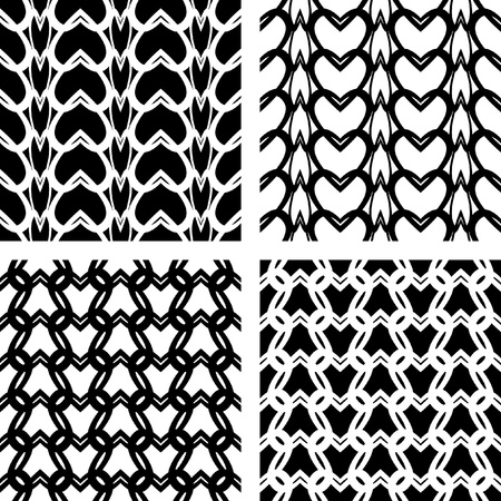 Knitting texture. Seamless lacy knitted patterns.   Vector