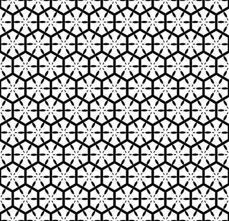 六角形の要素を持つシームレスな幾何学模様。