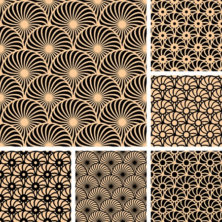 geometrical: Seamless patterns with circle elements. Vector art.