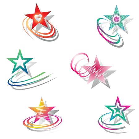 Stars. Design elements set. Vector art. Stock Vector - 9446225