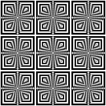 Seamless geometric op art pattern. Vector