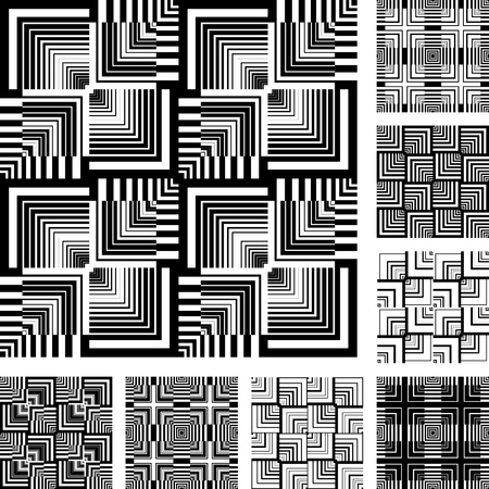 Seamless patterns set in op art design. Abstract geometric textures. Vector