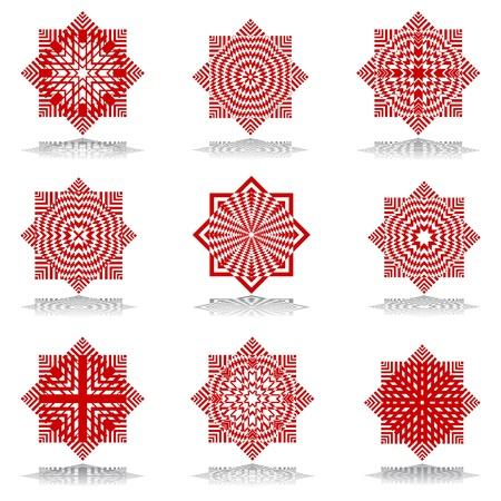 Design elements set. Octagonal patterns.