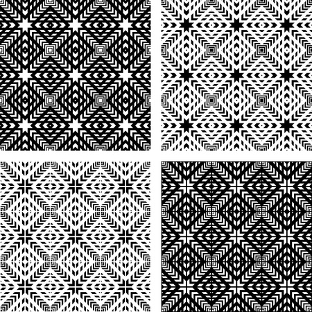 checked fabric: Seamless patterns set. Geometric textures. Vector art.