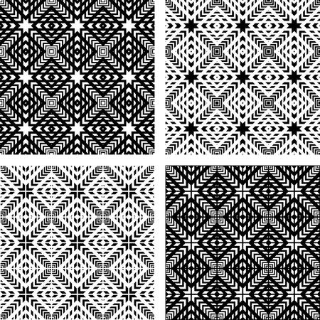 kontrolovány: Seamless patterns set. Geometric textures. Vector art.