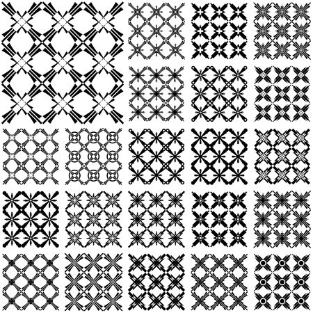 grating: Seamless geometric patterns. Designs set with cross elements. Vector art.