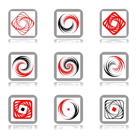 Design elements with spiral movement. Vector set.