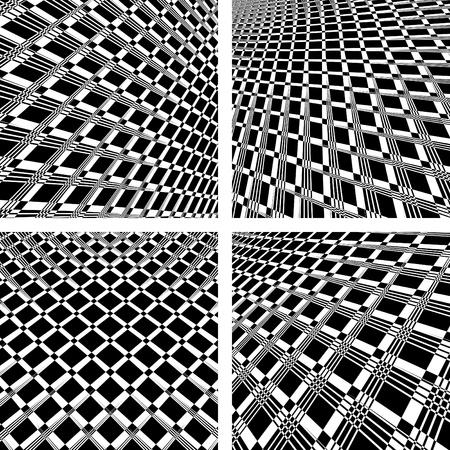 op art: Abstract textured backgrounds in op art design. No gradient. Vector set.