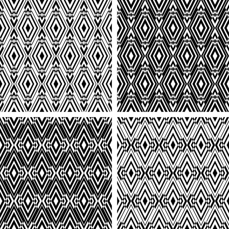 Seamless geometric patterns set with rhombuses ornate. Vector