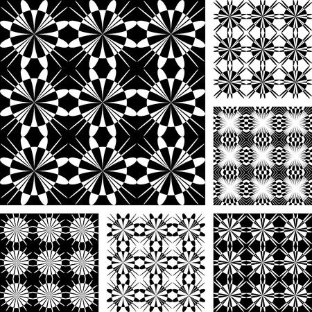 Seamless geometric patterns set. Vector art. Vector