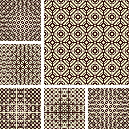 Seamless geometric latticed patterns set.  Illustration