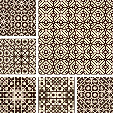 iteration: Seamless geometric latticed patterns set.  Illustration