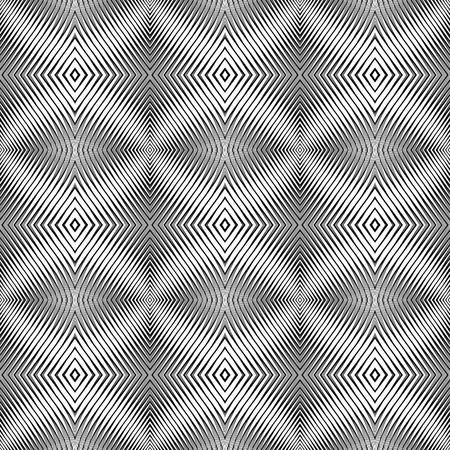 Seamless pattern in op art design. Vector textured background. No gradient. Illustration