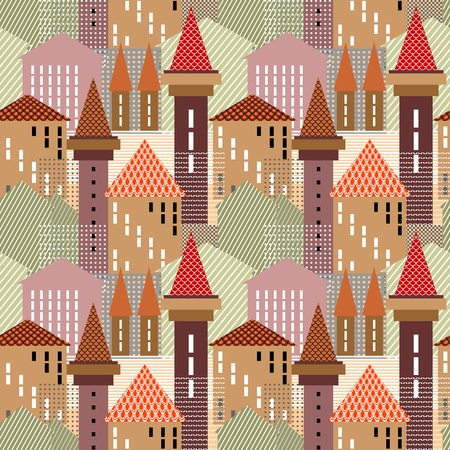 Abstract town. Seamless pattern. Vector art. Vector