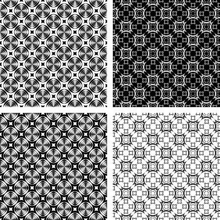 Seamless geometric modern patterns set. Vector art. Vector
