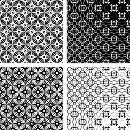Seamless geometric modern patterns set. Vector art. Vector