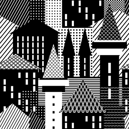 townscape: Town. Seamless pattern. Vector art.