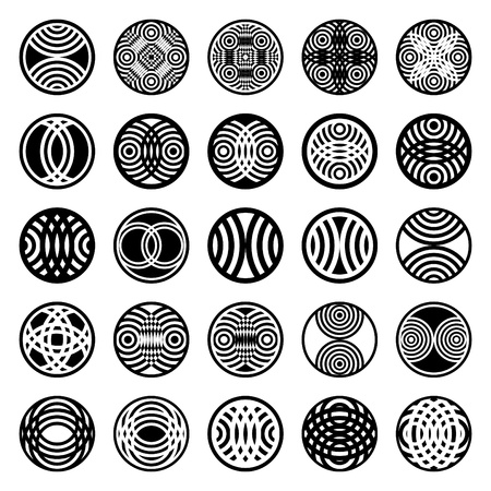 Patterns in circle shape. 25 design elements. Set 1. Vector art.