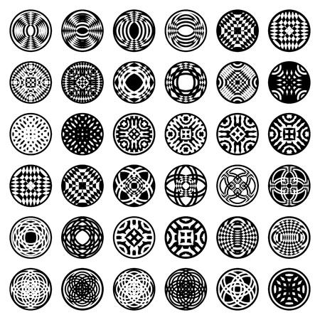 Patterns in circle shape. 36 design elements. Set 2. Vector art.