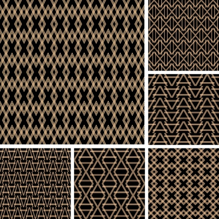 lattice: Seamless patterns set. Vector art. Illustration