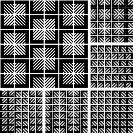 modular: Seamless geometric patterns set. Vector art.