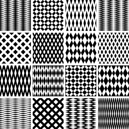 lattice: Geometric textures. Seamless patterns set. Vector art.