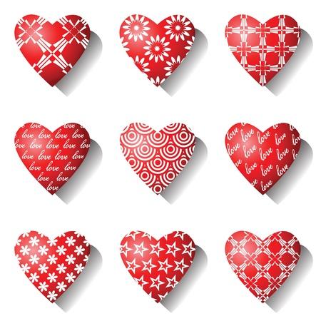 adorned: Heart icons. Valentine design elements set. Vector art.