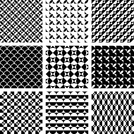 Seamless geometric patterns in op art design. Vector set. Illustration