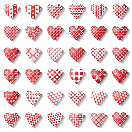 Heart icons for valentine card. 36 design elements. Vector art.