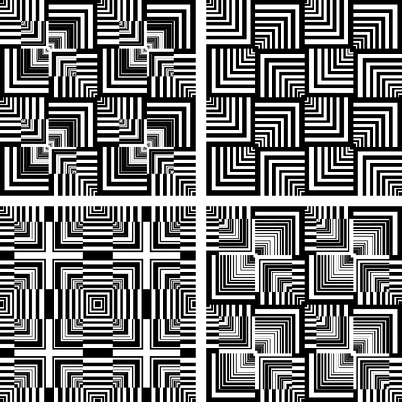Seamless op art patterns set. Vector graphics. Vector