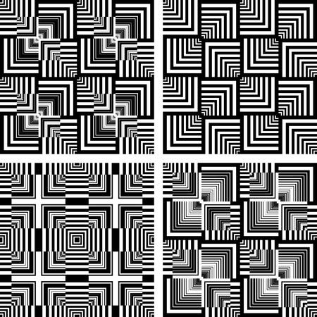 arte optico: Sin costura patrones de arte op establecido. Los gráficos vectoriales. Vectores