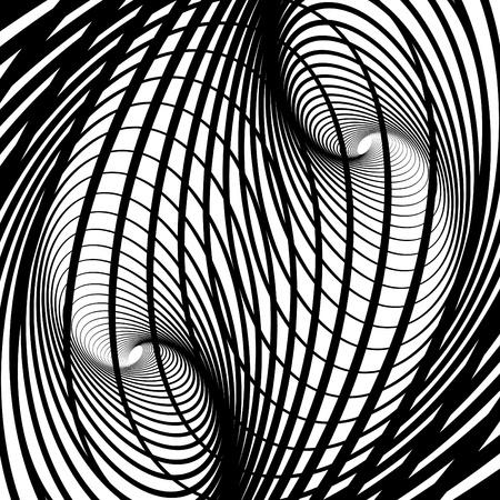 Resumen de fondo con forma de remolino ilusión de movimiento. Vector de arte.