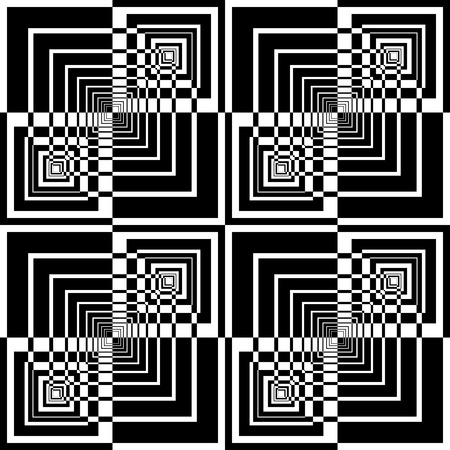 arte optico: Sin fisuras patrón geométrico en el diseño de arte op. Vector de arte.