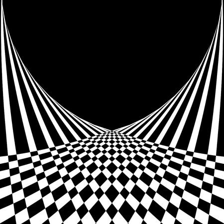 目の錯覚。オップ ・ アート スタイルで抽象的な背景。ベクトル イラスト。  イラスト・ベクター素材