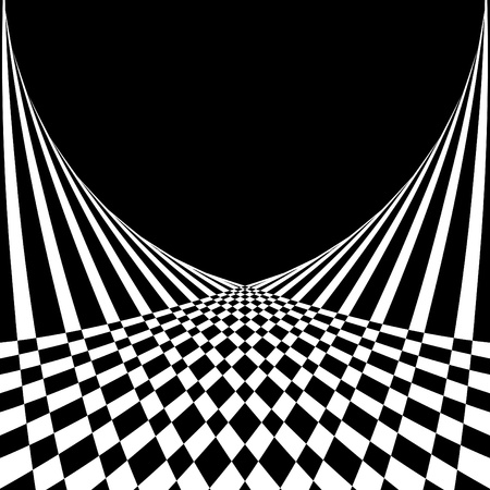 Optical illusion. Abstract background in op art style. Vector illustration.