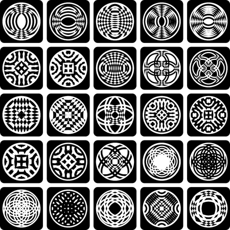 Decorative design elements. Patterns set. Abstract icons. Vector art. Vector