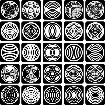Elementos de lujo de diseño. Los patrones establecidos. Iconos abstractos. Vector de arte.