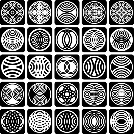 symmetry: Fancy design elements. Patterns set. Abstract icons. Vector art. Illustration