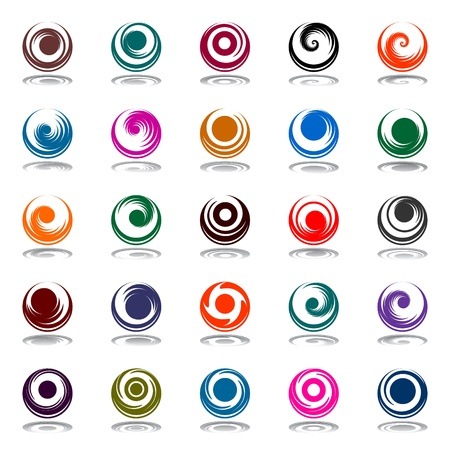 spiral vector: Spiral movement and rotation in circle shape. Design elements set. Vector art.
