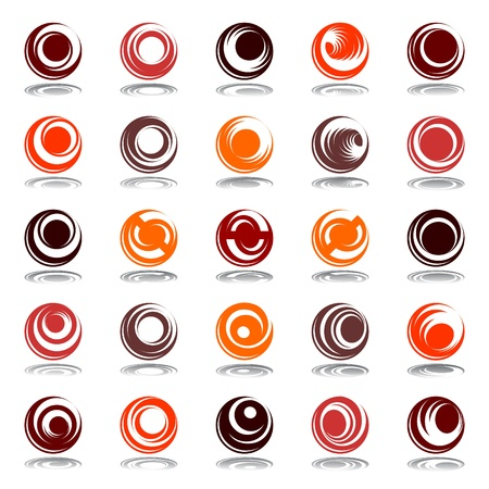 Movement and rotation in circle shape. Design elements set in warm colors. Vector art.