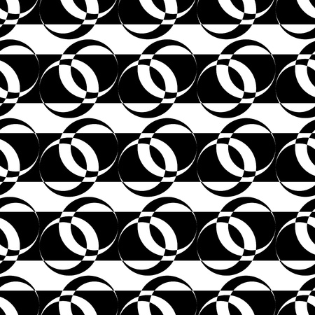 Seamless pattern with circle elements on striped texture. Vector art. Vector