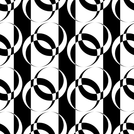 Seamless pattern with circle elements on striped texture. Vector art. Illustration