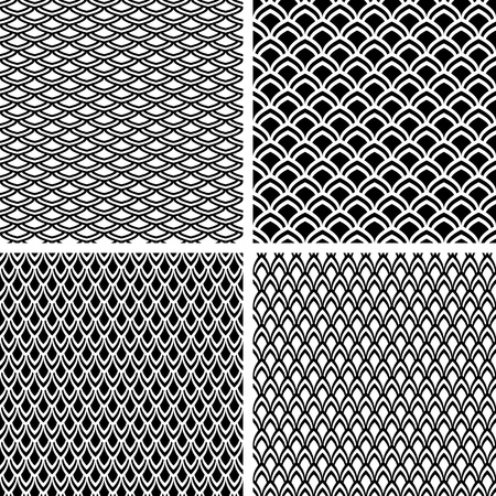 geometrical shapes: Seamless patterns set with fish scale texture. Vector art.